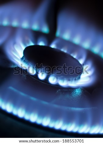 close up of a domestic gas stove