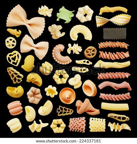 Close-up of a dried assorted italian pasta isolated on black - stock photo