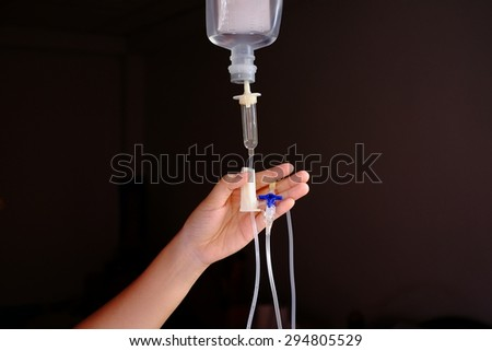 close up of a drip infusion set.vintage tone - stock photo