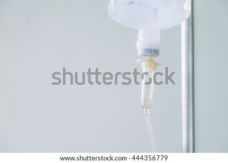 Close up of a drip infusion set with copy space