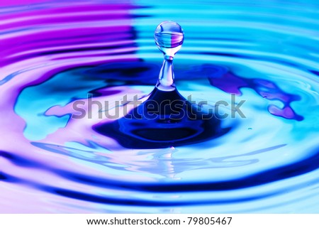 close up of a droplet of water with beautiful two tone color