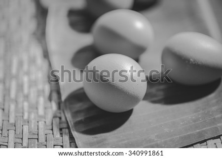 close up of a egg on a banana leaf , black and white - stock photo