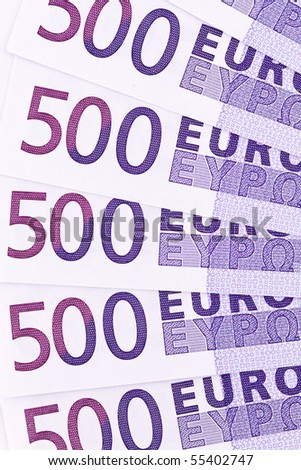 Close-up of a euro banknote of the European Union