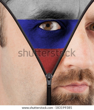 close-up of a face unzipping to show the flag of Russia - stock photo