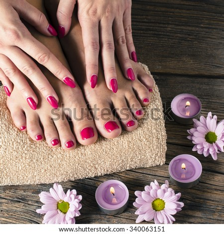 Close up of a female feet and hands in spa salon