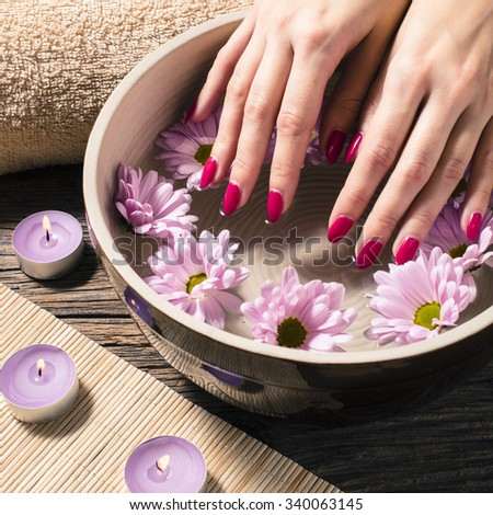 Close up of a female hands in spa salon