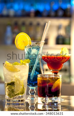 close-up of a few cocktails in the nightclub