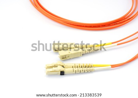 Close up of a fiber optic patchcord head