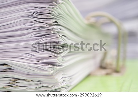close up of a file holder with documents - stock photo