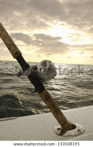 Close-up of a fishing-rod on yacht