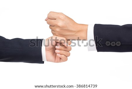 close up of a fist bump against isolated on white background