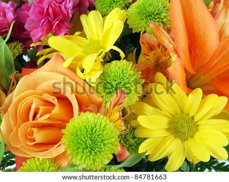 Close up of a flower bouquet on a white background - stock photo