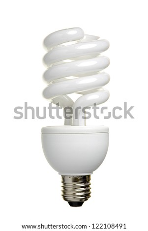 Close up of a fluorescent light bulb, isolated on white background - stock photo