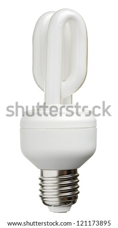 Close up of a fluorescent light bulb, isolated on white with clipping path - stock photo