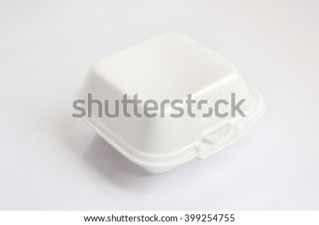 Close up of a foam food container on white background with clipping path - stock photo