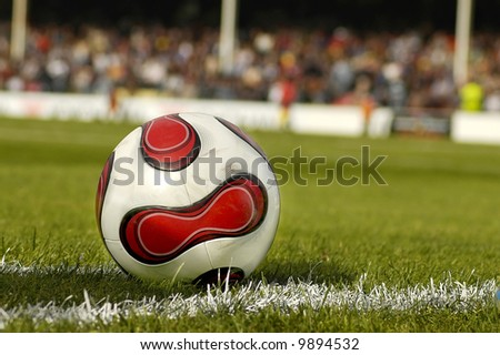Close up of a Football on the grass - stock photo
