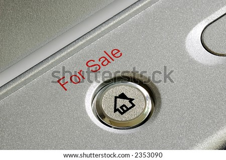 "Close up of a ""for sale"" button - stock photo"