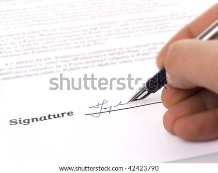 Close-up of a fountain pen and signature - stock photo