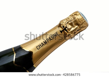 Close up of a French bottle of Champagne wine - stock photo