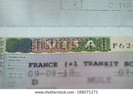 Close-up of a french visa - stock photo