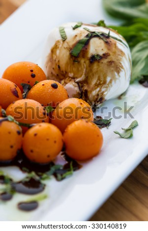 close up of a fresh mozzarella and tomato salad with basil and a balsamic vinegar reduction - stock photo