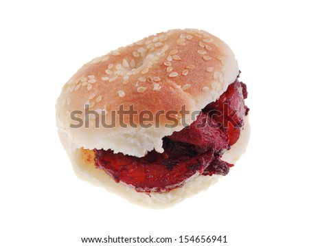 Close up of a Fuzhou pastry (kompia) with pork meat isolated on white background. - stock photo