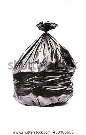 Close up of a garbage bag isolated on white background. - stock photo
