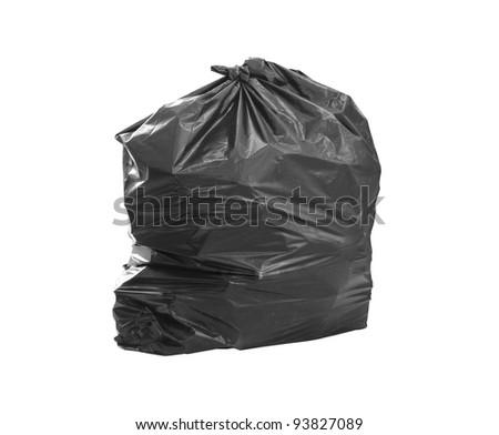 close up of a garbage bag on white background - stock photo