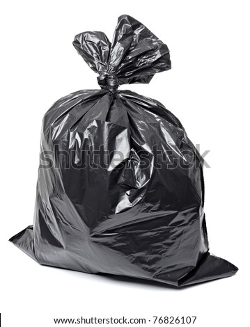 close up of a garbage bag on white background with clipping path - stock photo