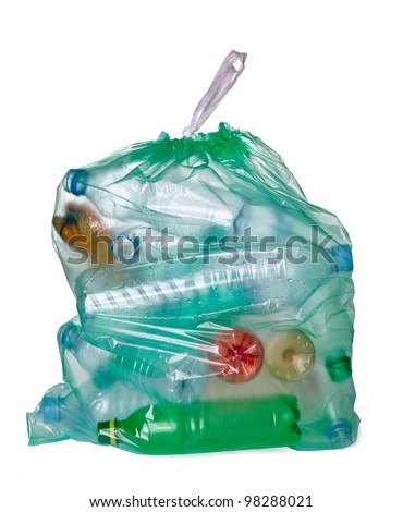 close up of a garbage bag with empty plastic bottles on white background with clipping path - stock photo