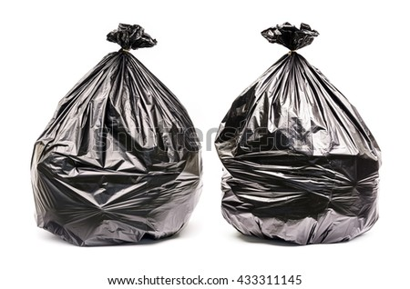 Close up of a garbage bags isolated on white background. - stock photo
