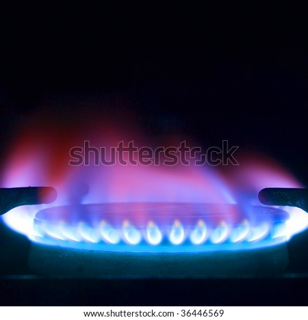 Close up of a gas flame, cooking oven - stock photo