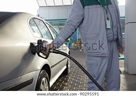 close up of a gas station - stock photo