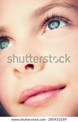 close up of a girls face - stock photo