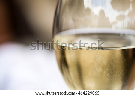 Close Up Of A Glass of White Wine With Copy Space
