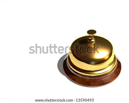 Close up of a golden bell on white background - rendered in 3d - stock photo