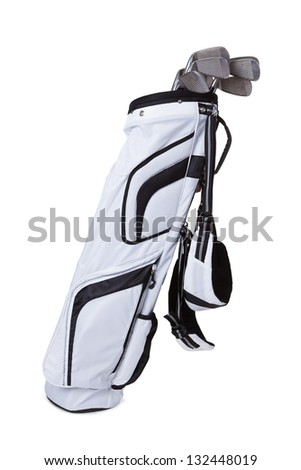 Close-up Of A Golf Bag Isolated On White Background - stock photo