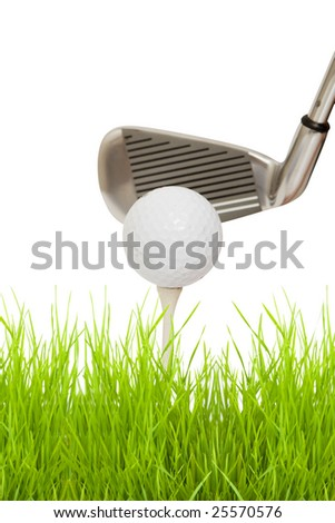 close up of a golf club with ball and tee isolated against white background - stock photo