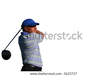 Close up of a golfer wearing a blue shirt and blue hat after teeing off on isolated white background with copy space - stock photo