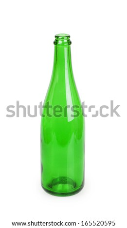 close up of a green champagne bottle on white background