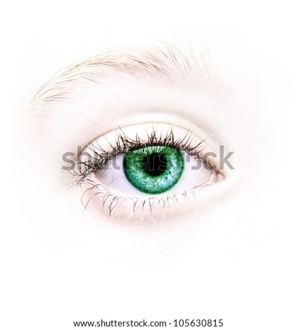 Close up of a green eye, natural no make-up - stock photo