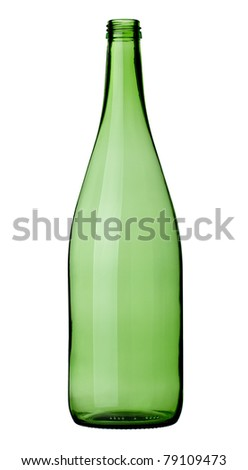 close up of  a green wine bottle on white background with clipping path - stock photo