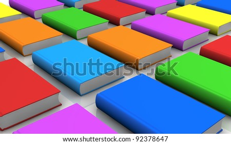 close up of a grid of coloured books (3d render)