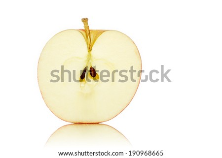 close up of a half of an apple, isolated on white.