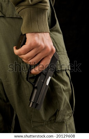 Close up of a hand holding a gun.