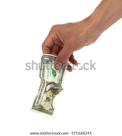 Close up of a hand holding a wrinkled dollar bill