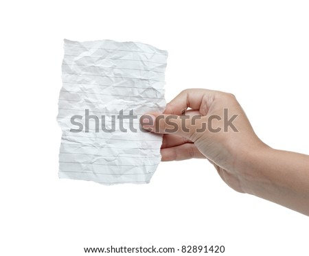 close up of a hand holding blank crumpled note on white background with clipping path - stock photo