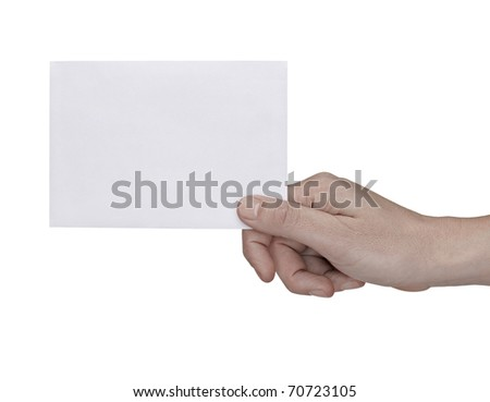 close up of a hand holding blank note on white background with clipping path