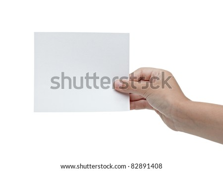 close up of a hand holding blank note on white background with clipping path - stock photo