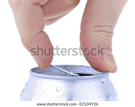 Close up of a hand opening a beverage. Isolated on white. - stock photo